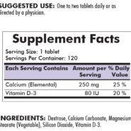 Calcium 250 mg with Vitamin D - 120 chewable tablets - INGREDIENTS