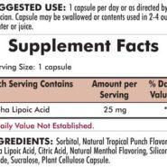 Alpha Lipoic Acid (25mg) 90 capsules - INGREDIENTS