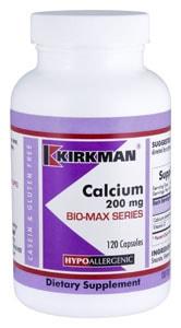 Calcium 200 mg - Bio-Max Series - Hypoallergenic - 120 capsules