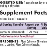 Chromium 100 mcg - Hypoallergenic - 100 capsules - INGREDIENTS