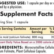 Folinic Acid 800 mcg - Hypoallergenic - 180 capsules - INGREDIENTS