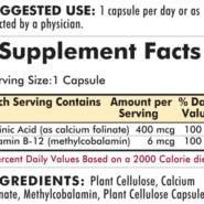 Folinic Acid with B-12 - Hypoallergenic - 200 capsules - INGREDIENTS