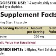 Glycine 250 mg - Hypoallergenic - 200 capsules - INGREDIENTS