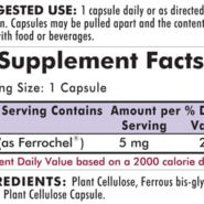 Iron 5 mg - Bio-Max Series - Hypoallergenic - 120 capsules - INGREDIENTS