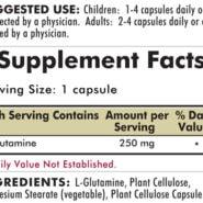 L-Glutamine 250 mg Capsules - Hypoallergenic - 250 Hypoallergenic capsules - INGREDIENTS
