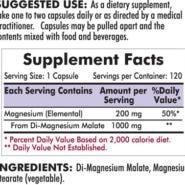 Magnesium Malate 1000 mg - Hypoallergenic - 120 capsules - INGREDIENTS