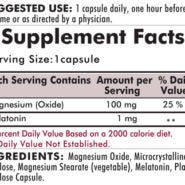 Melatonin Plus Magnesium - Hypoallergenic - 250 capsules - INGREDIENTS
