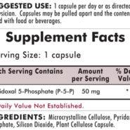 P-5-P (Pyridoxal 5-Phosphate, Vitamin B-6 Metabolite) 50 mg - Hypoallergenic - 100 capsules - INGREDIENTS