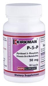 P-5-P (Pyridoxal 5-Phosphate, Vitamin B-6 Metabolite) 50 mg - Hypoallergenic - 100 capsules