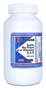 Super Nu-Thera® without Vitamins A & D - Hypoallergenic - 360 capsules