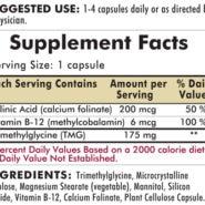 TMG with Folinic Acid & B-12 - Hypoallergenic - 200 capsules - INGREDIENTS