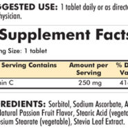Vitamin C 250 mg with Stevia - 250 chewable tablets - INGREDIENTS