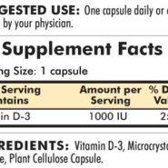 Vitamin D-3 1000 IU - Hypoallergenic - 120 capsules - INGREDIENTS