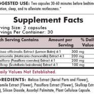 Restless Sleep Herbal Blend - 60 capsules - INGREDIENTS